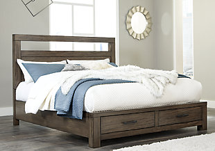 Deylin King Panel Bed with 2 Storage Drawers, Grayish Brown, rollover