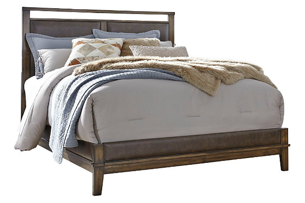 Zilmar Queen Panel Bed, Brown, large