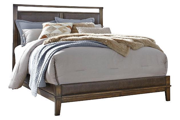 Zilmar Queen Panel Bed, Brown, large