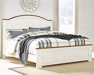 Wystfield Queen Panel Bed, White/Brown, rollover
