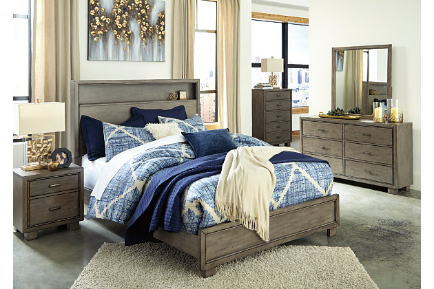 Arnett Queen Bookcase Bed, Gray, large
