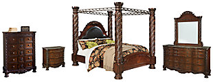 North Shore King Poster Bed with Canopy with Mirrored Dresser, Chest and Nightstand, , large