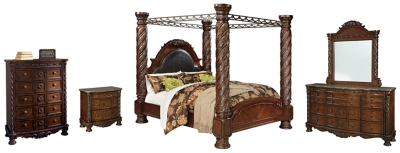 North Shore King Poster Bed With Canopy With Mirrored Dresser Chest And Nightstand Ashley Furniture Homestore