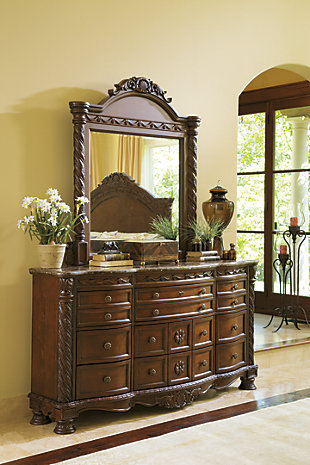 North Shore Dresser and Mirror, Dark Brown, rollover