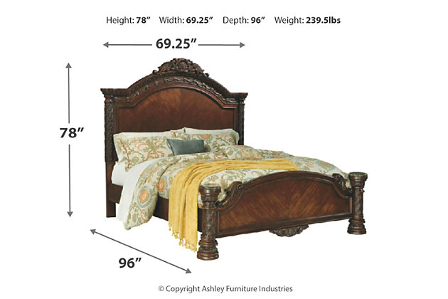 North Shore Queen Panel Bed, Dark Brown, large