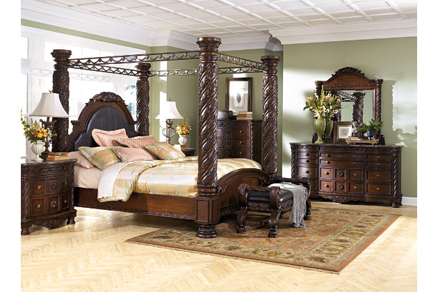 large scale decorative pilasters and canopies create grand king beds and bedroom sets