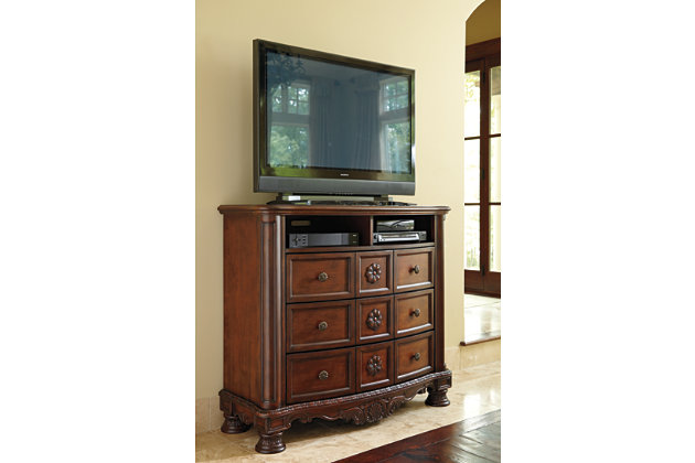 three drawers and two open cubbies on this media stand. North Shore Media Chest   Ashley Furniture HomeStore
