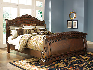 Large North S Queen Sleigh Bed Dark Brown Rollover
