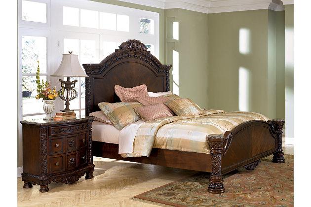 North Shore California King Panel Bed, Dark Brown, large