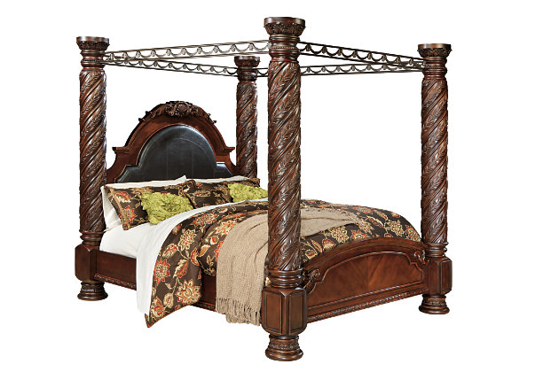 North shore king canopy bed ashley furniture home store Short canopy bed