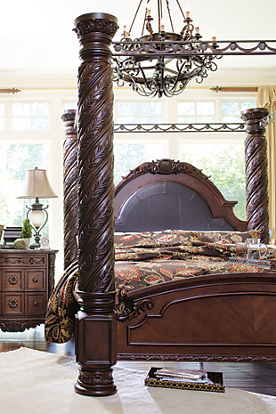 ... North Shore King Canopy Bed Dark Brown large ... : canopy bed ashley furniture - memphite.com