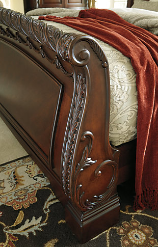 North Shore King Sleigh Bed, Dark Brown, large