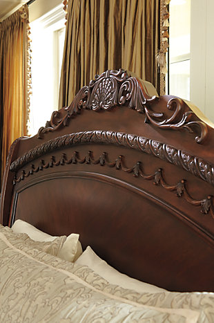 North Shore Queen Sleigh Bed, Dark Brown, large
