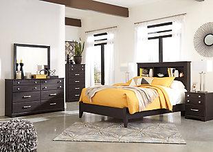 Reylow Queen Bookcase Bed, Dark Brown, large