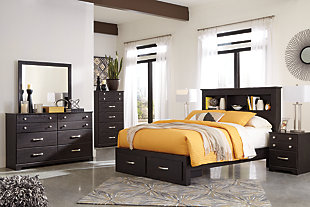 Reylow Queen Bookcase Bed with 2 Storage Drawers, Dark Brown, large