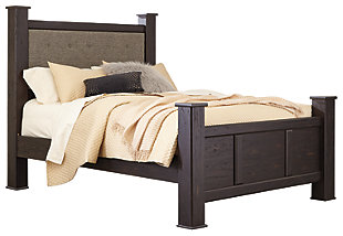 Reylow Queen Poster Bed, Dark Brown, large