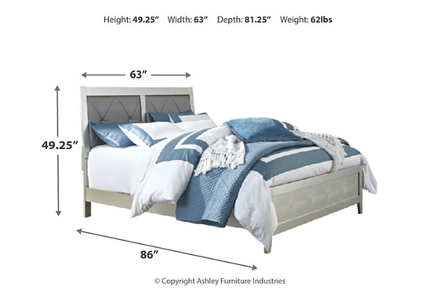 Olivet Queen Panel Bed, Silver, large