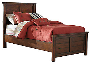 Ladiville Kids Twin Panel Bed, Rustic Brown, large