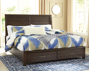 Darbry Queen Panel Bed with 2 Storage Drawers, Brown, rollover