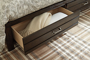 Darbry Queen Panel Bed with Storage, Brown, large