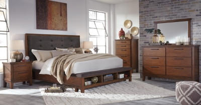 Information about Queen Bedroom Medium Brown Piece Product Photo