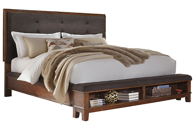 Ralene Queen Upholstered Panel Bed, Dark Brown, large