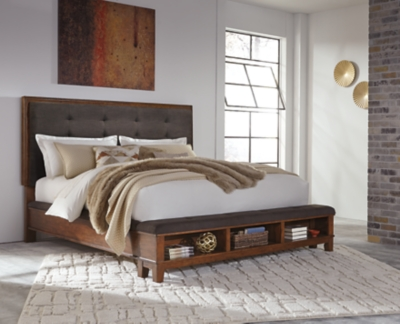 Upholstered Panel Bed Dark Brown King Product Photo 639