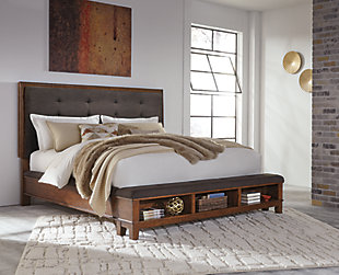Ralene Queen Upholstered Panel Bed, Dark Brown, rollover