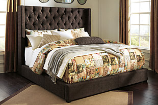 Norrister Queen Upholstered Panel Bed, Dark Brown, rollover