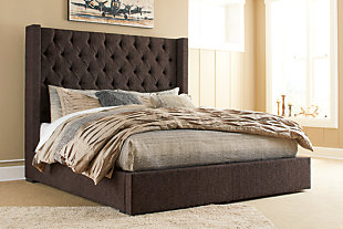 Norrister Queen Upholstered Bed with 1 Large Storage Drawer, Dark Brown, rollover