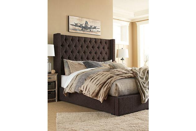 Norrister King Upholstered Bed, Dark Brown, large