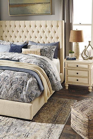 Norrister Queen Upholstered Bed with 1 Large Storage Drawer, Beige, large