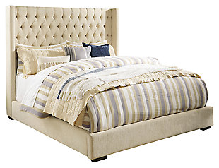 Norrister Queen Upholstered Panel Bed, Beige, large