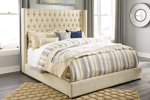Norrister California King Upholstered Panel Bed, Beige, rollover