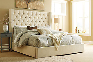 Norrister Queen Upholstered Bed, Beige, rollover