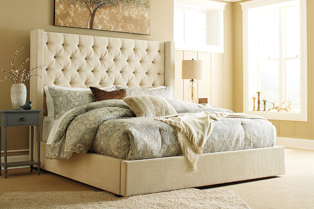Norrister Queen Upholstered Bed Beige Large