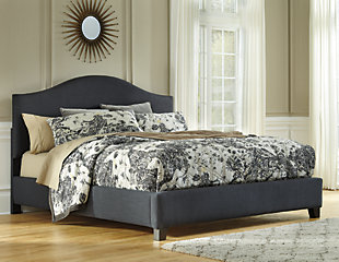 dark gray view - Queen Tufted Bed Frame
