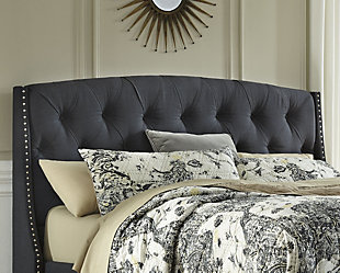 Kasidon Queen Upholstered Headboard, Dark Gray, large