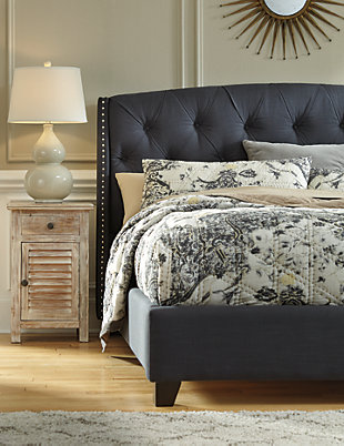 ... Kasidon Queen Tufted Bed, Dark Gray, Large ...