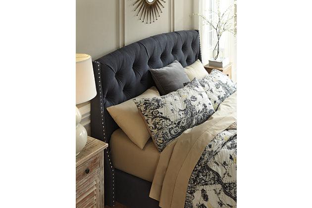 dark gray upholstered king bed frame