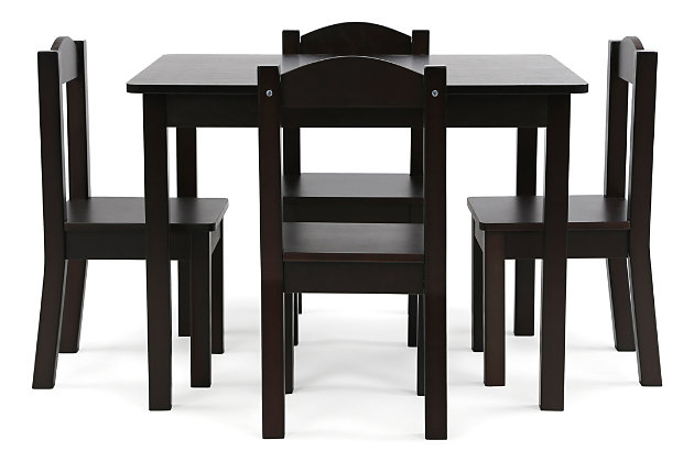 Kids Brooklyn Wood Table and Four Chairs Set, , large