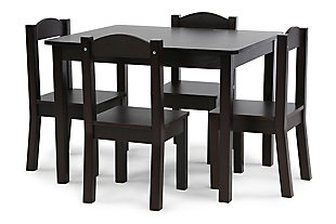 Brooklyn Wood Table and Four Chairs Set, , large