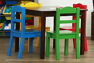 Kids Discover Wood Table and Four Chairs Set, , large