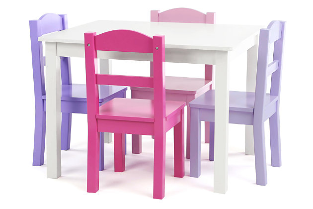 Kids Forever Wood Table and Four Chairs Set, , large