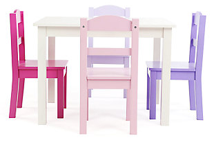 Forever Wood Table and Four Chairs Set, , large