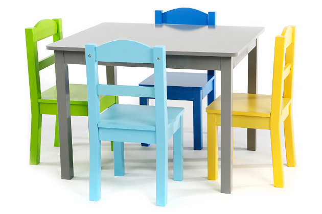 Kids Forest Wood Table and Four Chairs Set, , large