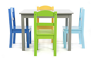 Kids Forest Wood Table and Four Chairs Set, , rollover