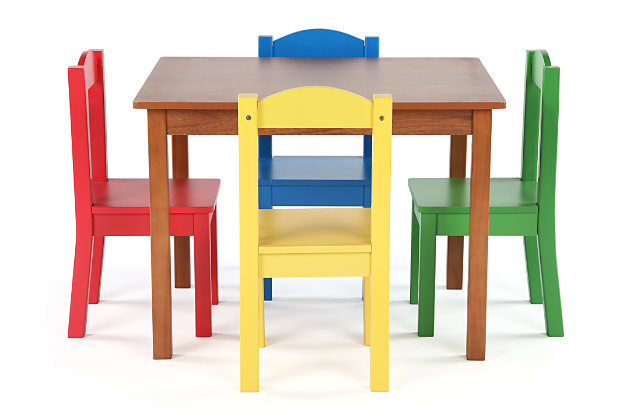 Kids Highlight Wood Table and Four Chairs Set, , large