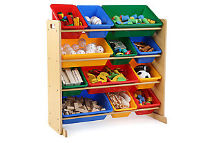 Primary Toy Storage Organizer with Twelve Plastic Bins, , rollover