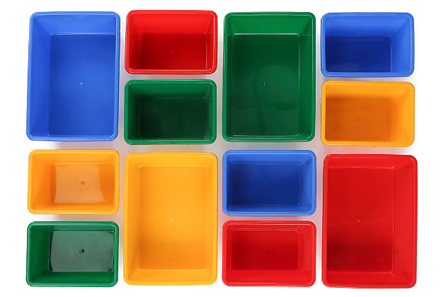 Kids Primary Toy Storage Organizer with Twelve Plastic Bins, , large